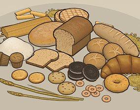 3D model Cartoony food pack 1