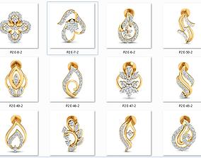 50 Women Earrings 3dm stl render details bulk collection