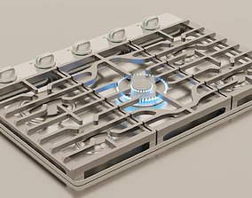 PBR model of gas hob aluminium finish 3D asset