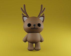 3D cute kawaii brown reindeer