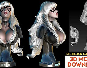 Black Cat from Batman Bust STL-OBJ 3D model Fanart