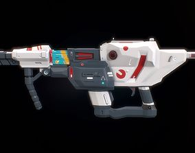 Low poly sci fi impulse rifle weapon asset realtime