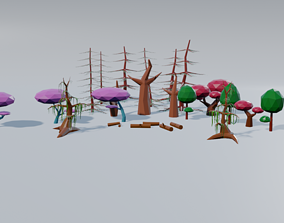3D model LowPoly trees nature