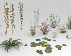 Low-poly plants 3D asset