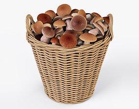 Wicker Basket 08 with Mushrooms 3D model