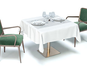 Pack elegant restaurant table chairs and accessories in 3D