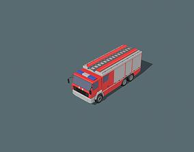 3D asset low-poly fire truck