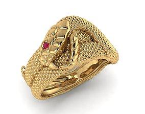 Snake ring with red ruby eye nhan ran mat 3D print model 3