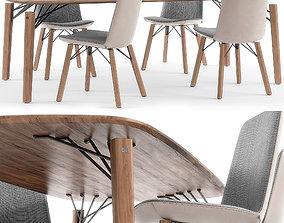 3D model Rolf Benz 616 chair set 02