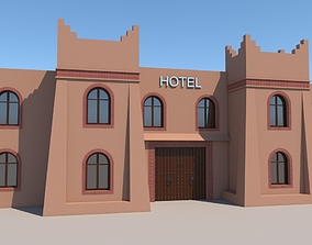 Traditional Moroccan Hotel Kasbah Style 3D