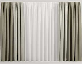 Beige curtains in two colors 3D model