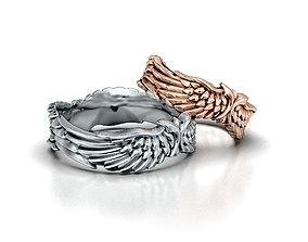 Wedding Rings Angel Wings V1 3D print model