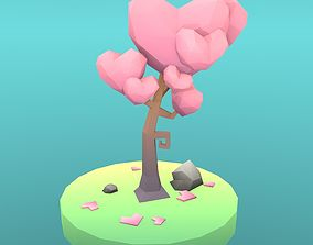 Low Poly Tree - The Tree Of Hearts 3D model realtime