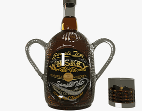 A BEAUTIFUL WHISKEY BOTTLE WITH WHISKEY GLASS 3D