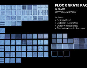 3D model Floor Grate Pack V2 - 50 Grates