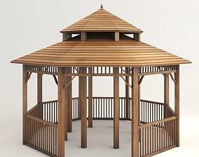 3D model space Wooden Gazebo