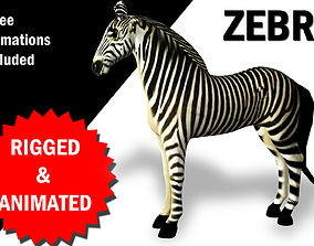 3D model Zebra Rigged and Animated