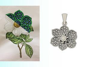 cad 3D print model Camellia Pendant