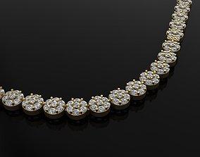 Diamond Tennis Necklace Cluster Link 3D printable model 1