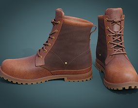 Brown Leather Boots 3D model game-ready