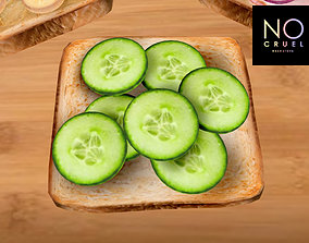 Toast with cucumbers mesh 3D asset realtime