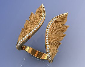 Luxury Wings Ring Gold and Diamonds 3D print model