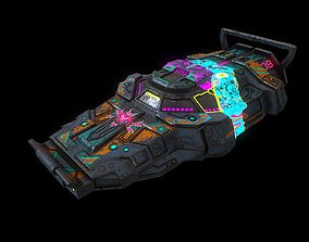 Low poly cyberpunk flying car 3D asset