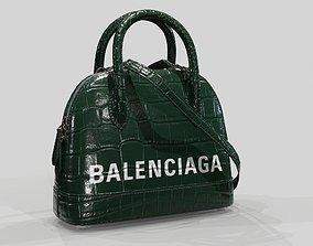 3D Balenciaga Ville Top Handle XXS Bag Green Crocodile