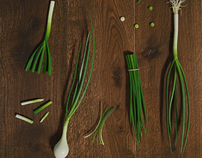 Green Onion Low Poly photorealistic scene 3D asset
