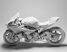 3D model low-poly Kawasaki Ninja H2R