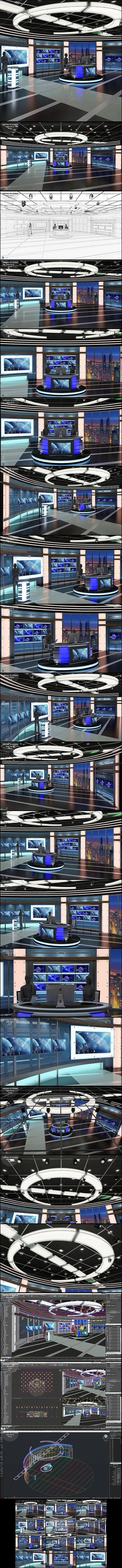 Virtual TV Studio News Set 27 - 3D Model Designs