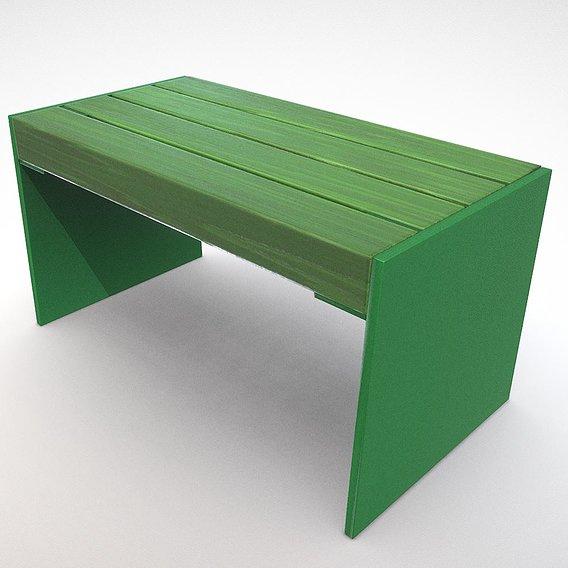 Low-poly Park Bench 8 Oak Green Metal Frame 3