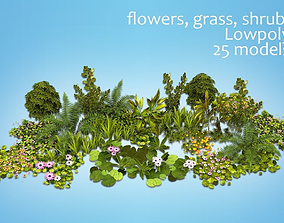 flowers and plants are low poly 25 objects 3D asset