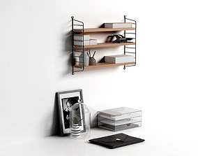 Workspace String Pocket Shelf with Office 3D model