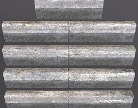 3D model Old curb stone border