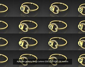 Alphabet Jewelry Rings Letters COLLECTION 3D model