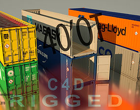 Shipping Container 40ft Open Top rigged 3D
