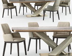 Cattelan Italia Belinda armchair Stratos table set 3D