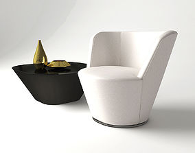 3D Armchair and table AMEO from Walter Knoll - Design by