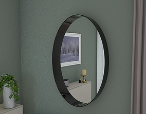 3D asset VR / AR ready Oval mirror 95cm high grey gloss
