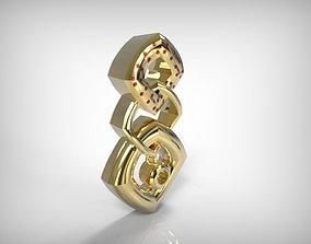 Jewelry Golden Pendant Squares Design 3D print model
