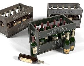3D model Champagne Wine Wood Crate Pack UE4 Set Game 2
