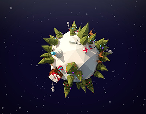 Cartoon Low Poly Winter Planet Asset 3D model low-poly
