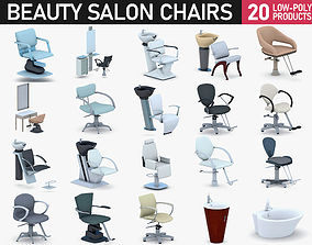 3D model low-poly Beauty Salon Chairs Collection