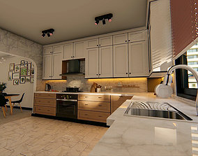 3D model American Kitchen and Living Room