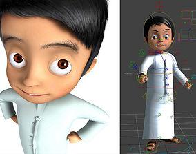 3D arabic muslim boy cartoon characater model rigged