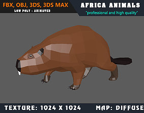 animated Low Poly Beaver Cartoon 3D Model Animated - Game
