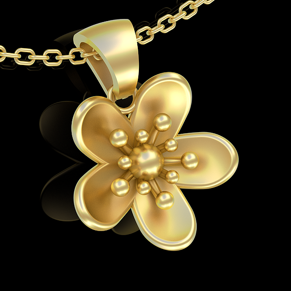 Small Flower Pendant jewelry Gold 3D print model