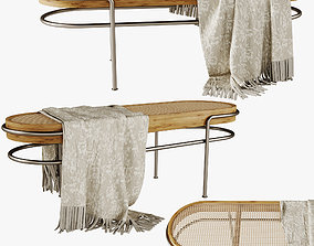 Middle rattan bench 3D model