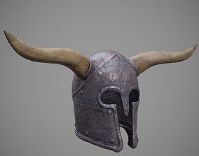 Roman - Medieval Helmet Horned 02 3D asset